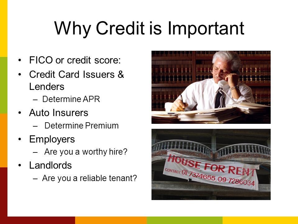 Why Credit is Important FICO or credit score: Credit Card Issuers & Lenders –Determine APR Auto Insurers – Determine Premium Employers – Are you a worthy hire.
