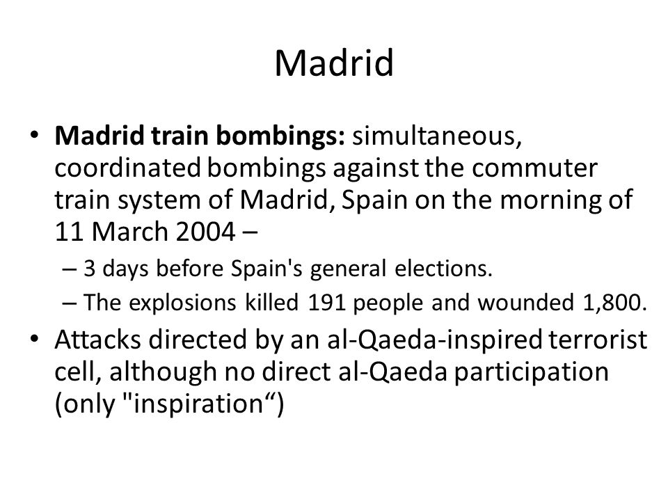 Image result for march 2004 bomb attacks on madrid spain commuter trains
