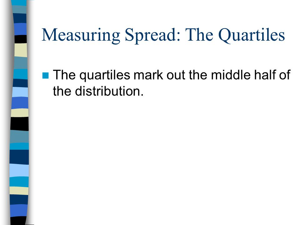 Measuring Spread: The Quartiles The quartiles mark out the middle half of the distribution.