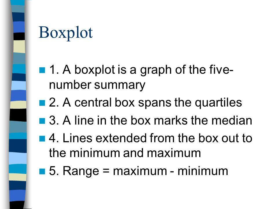 Boxplot 1. A boxplot is a graph of the five- number summary 2.