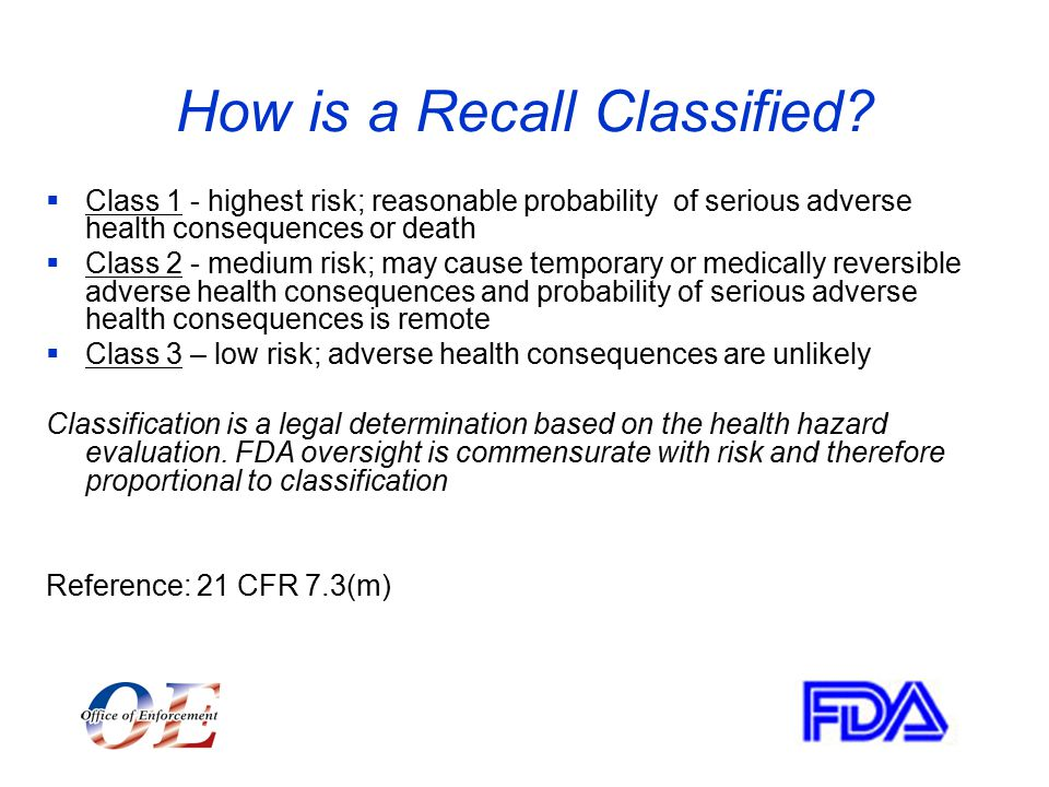 How is a Recall Classified.
