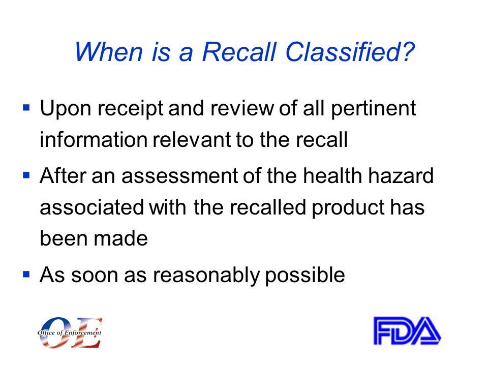 When is a Recall Classified.