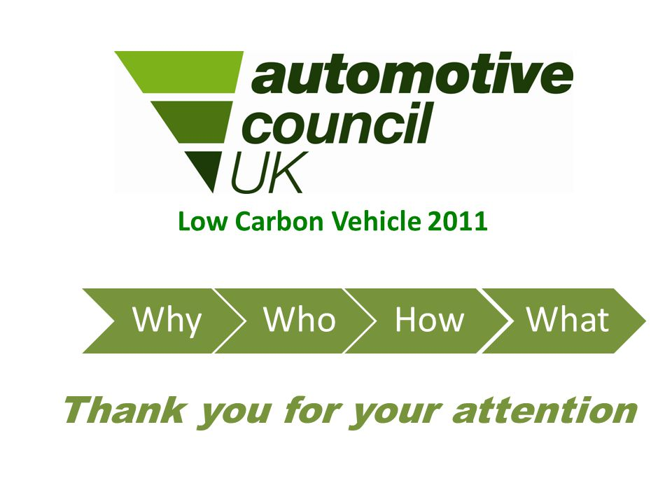 Low Carbon Vehicle 2011 WhyWhoHowWhat Thank you for your attention