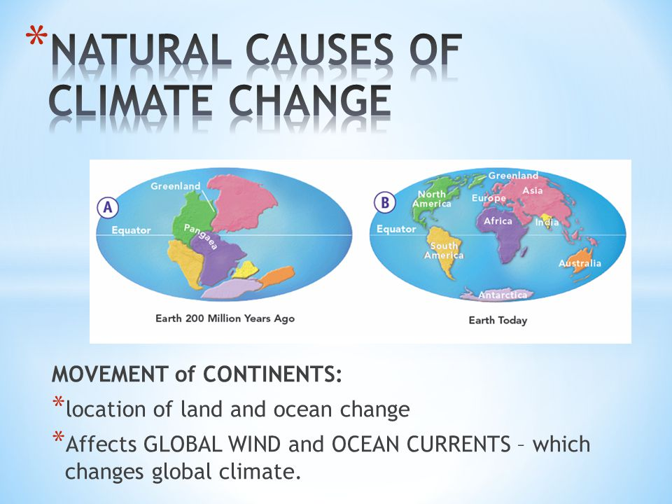 MOVEMENT of CONTINENTS: * location of land and ocean change * Affects GLOBAL WIND and OCEAN CURRENTS – which changes global climate.