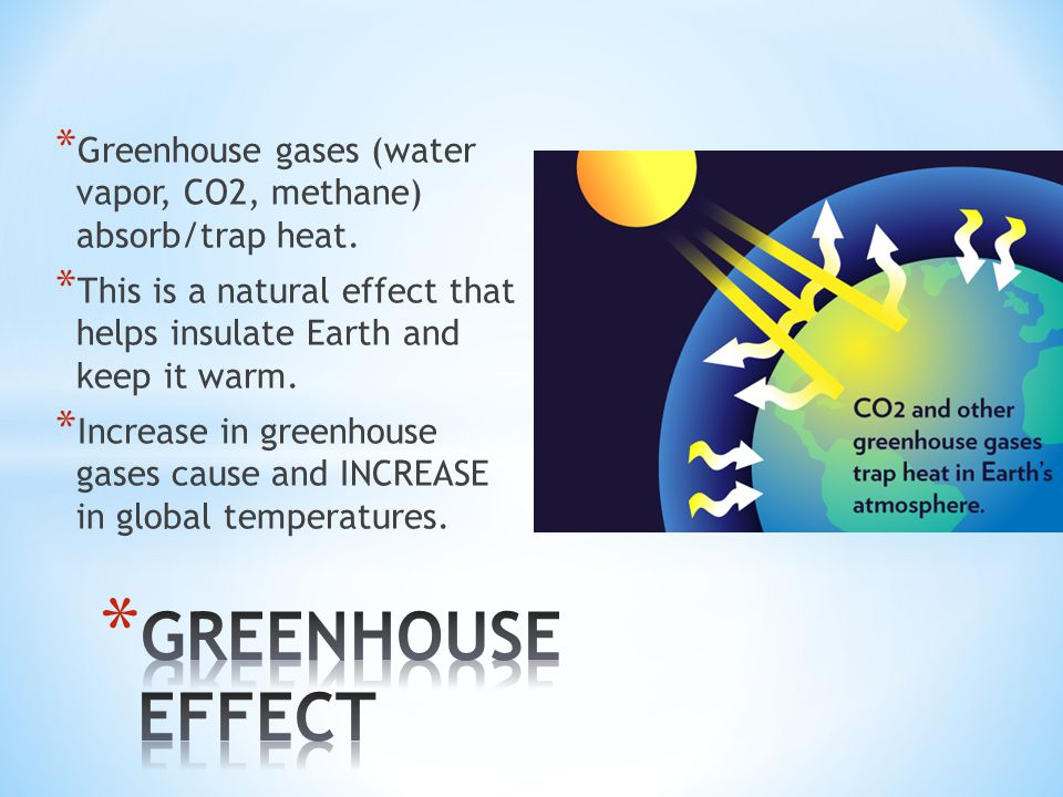 * Greenhouse gases (water vapor, CO2, methane) absorb/trap heat.