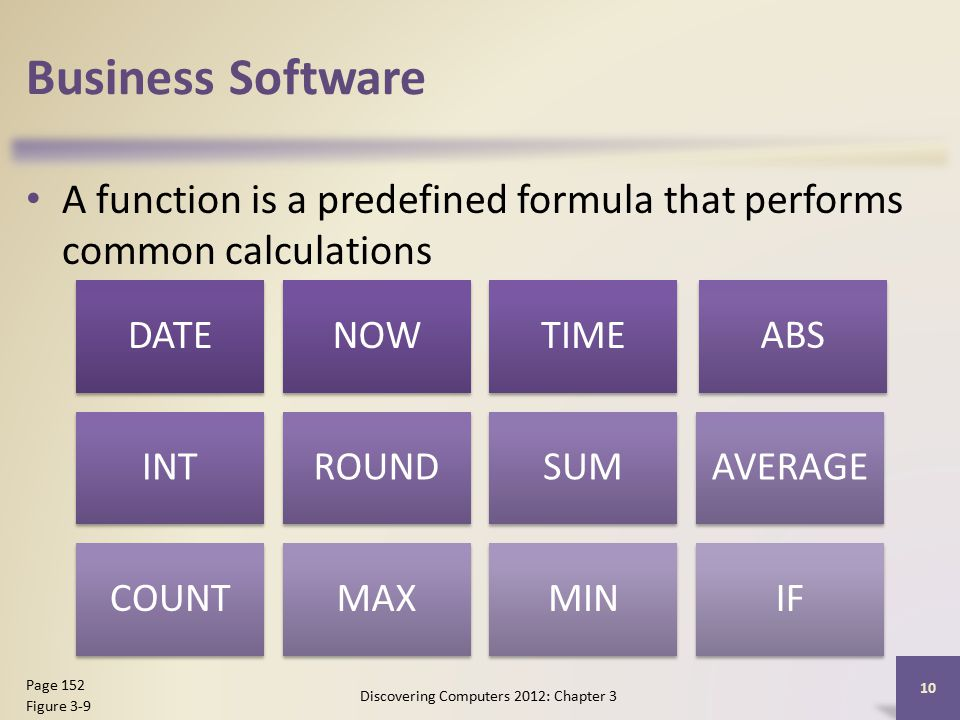 Business Software A function is a predefined formula that performs common calculations Discovering Computers 2012: Chapter 3 10 Page 152 Figure 3-9 DATENOWTIME ABS INTROUNDSUMAVERAGE COUNTMAXMINIF