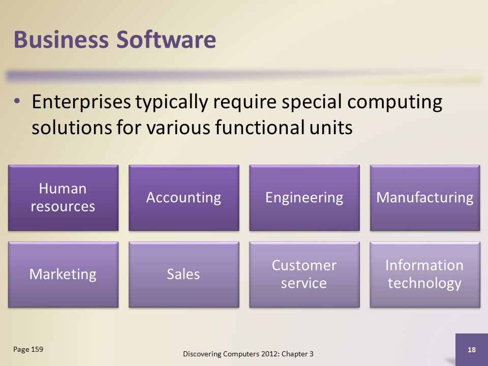 Business Software Enterprises typically require special computing solutions for various functional units Discovering Computers 2012: Chapter 3 18 Page 159 Human resources AccountingEngineeringManufacturing MarketingSales Customer service Information technology