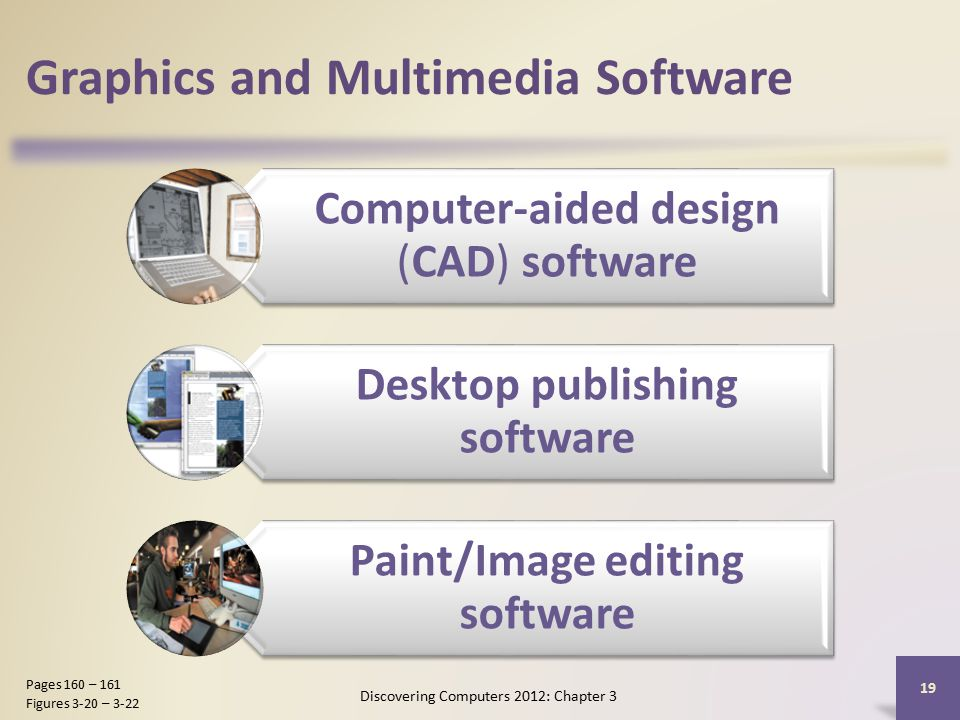 Graphics and Multimedia Software Computer-aided design (CAD) software Desktop publishing software Paint/Image editing software Discovering Computers 2012: Chapter 3 19 Pages 160 – 161 Figures 3-20 – 3-22