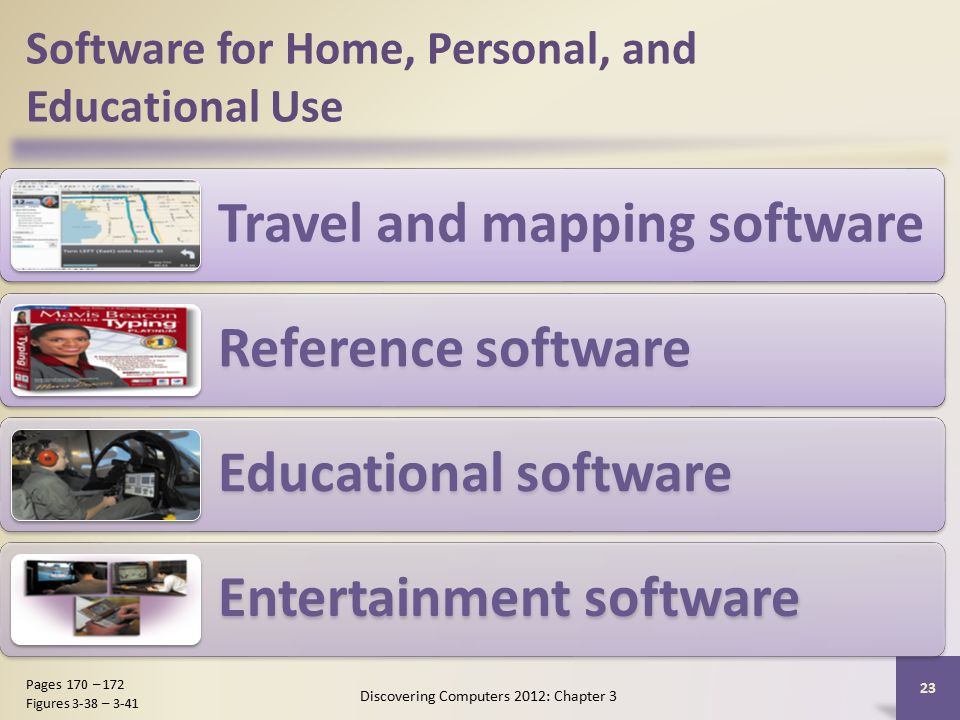 Software for Home, Personal, and Educational Use Travel and mapping software Reference software Educational software Entertainment software Discovering Computers 2012: Chapter 3 23 Pages 170 – 172 Figures 3-38 – 3-41