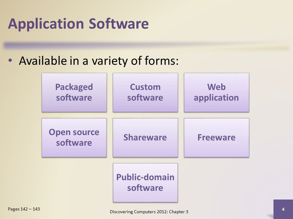 Application Software Available in a variety of forms: Discovering Computers 2012: Chapter 3 4 Pages 142 – 143 Packaged software Custom software Web application Open source software SharewareFreeware Public-domain software