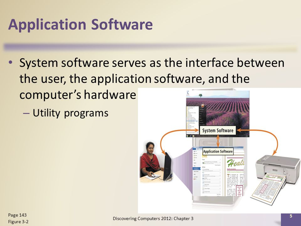 Application Software System software serves as the interface between the user, the application software, and the computer's hardware – Utility programs Discovering Computers 2012: Chapter 3 5 Page 143 Figure 3-2