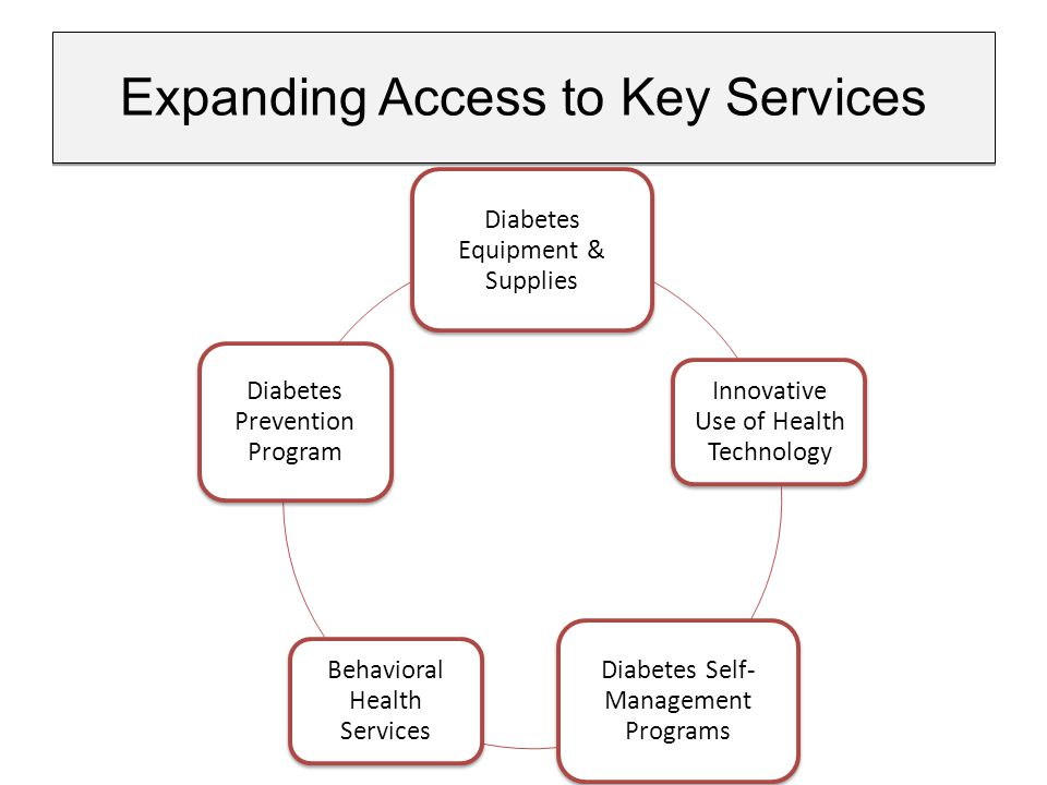 Expanding Access to Key Services Diabetes Equipment & Supplies Innovative Use of Health Technology Diabetes Self- Management Programs Behavioral Health Services Diabetes Prevention Program