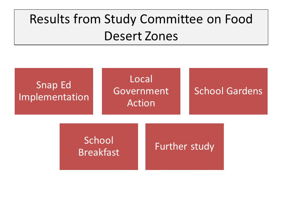 Results from Study Committee on Food Desert Zones Snap Ed Implementation Local Government Action School Gardens School Breakfast Further study