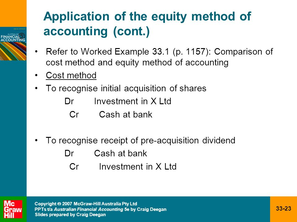 33-23 Copyright  2007 McGraw-Hill Australia Pty Ltd PPTs t/a Australian Financial Accounting 5e by Craig Deegan Slides prepared by Craig Deegan Application of the equity method of accounting (cont.) Refer to Worked Example 33.1 (p.
