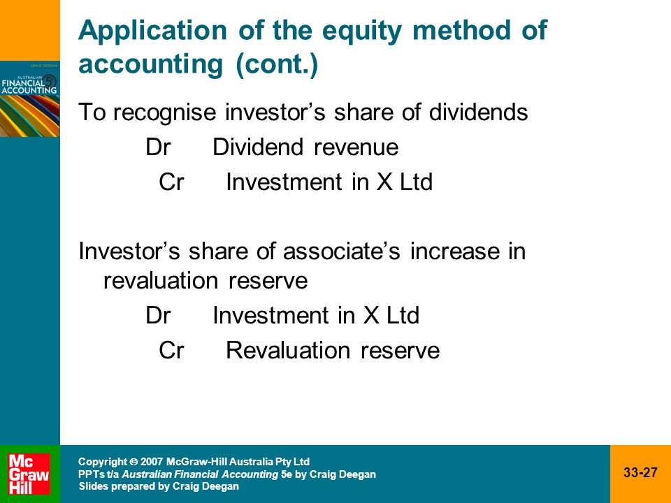 33-27 Copyright  2007 McGraw-Hill Australia Pty Ltd PPTs t/a Australian Financial Accounting 5e by Craig Deegan Slides prepared by Craig Deegan Application of the equity method of accounting (cont.) To recognise investor's share of dividends DrDividend revenue Cr Investment in X Ltd Investor's share of associate's increase in revaluation reserve DrInvestment in X Ltd Cr Revaluation reserve