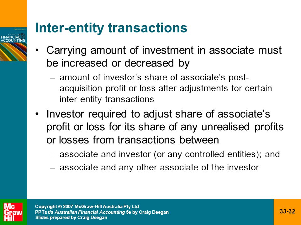 33-32 Copyright  2007 McGraw-Hill Australia Pty Ltd PPTs t/a Australian Financial Accounting 5e by Craig Deegan Slides prepared by Craig Deegan Inter-entity transactions Carrying amount of investment in associate must be increased or decreased by –amount of investor's share of associate's post- acquisition profit or loss after adjustments for certain inter-entity transactions Investor required to adjust share of associate's profit or loss for its share of any unrealised profits or losses from transactions between –associate and investor (or any controlled entities); and –associate and any other associate of the investor