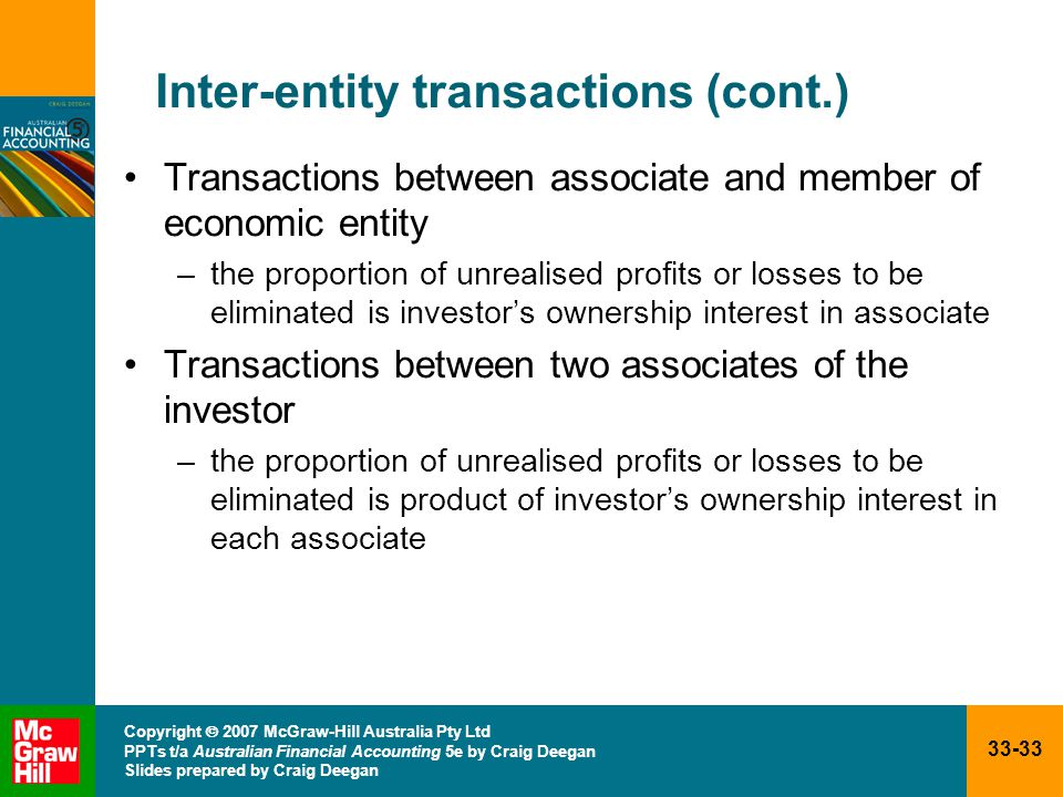 33-33 Copyright  2007 McGraw-Hill Australia Pty Ltd PPTs t/a Australian Financial Accounting 5e by Craig Deegan Slides prepared by Craig Deegan Inter-entity transactions (cont.) Transactions between associate and member of economic entity –the proportion of unrealised profits or losses to be eliminated is investor's ownership interest in associate Transactions between two associates of the investor –the proportion of unrealised profits or losses to be eliminated is product of investor's ownership interest in each associate