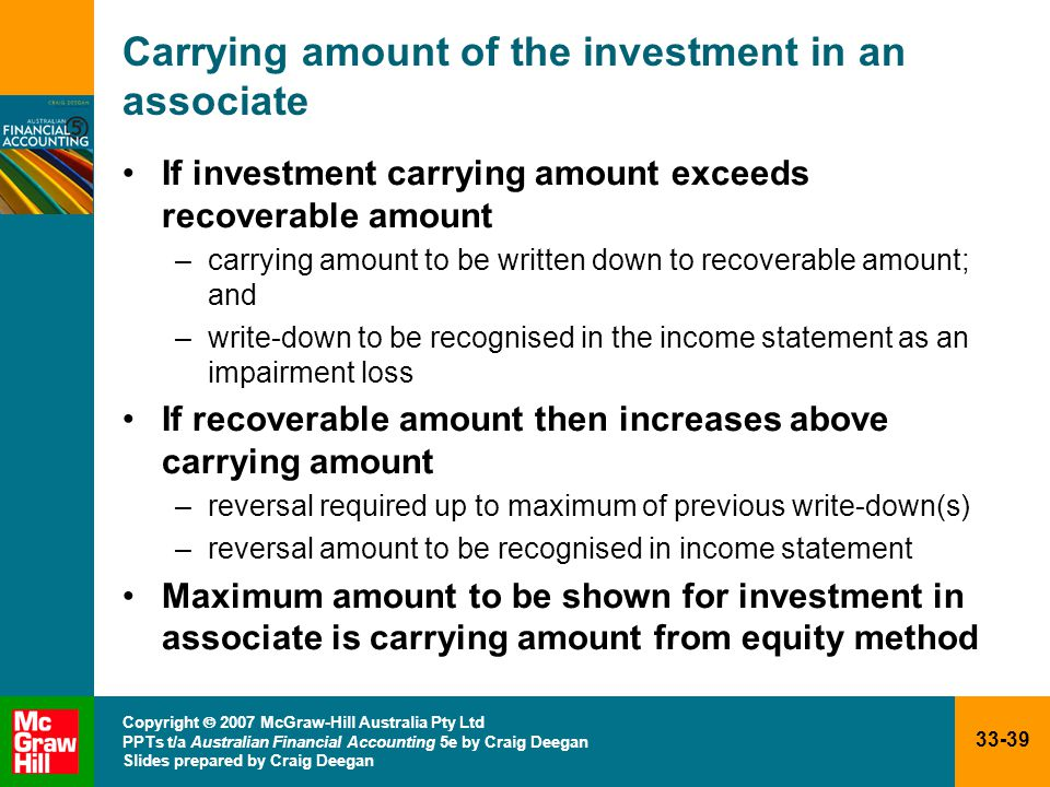 33-39 Copyright  2007 McGraw-Hill Australia Pty Ltd PPTs t/a Australian Financial Accounting 5e by Craig Deegan Slides prepared by Craig Deegan Carrying amount of the investment in an associate If investment carrying amount exceeds recoverable amount –carrying amount to be written down to recoverable amount; and –write-down to be recognised in the income statement as an impairment loss If recoverable amount then increases above carrying amount –reversal required up to maximum of previous write-down(s) –reversal amount to be recognised in income statement Maximum amount to be shown for investment in associate is carrying amount from equity method