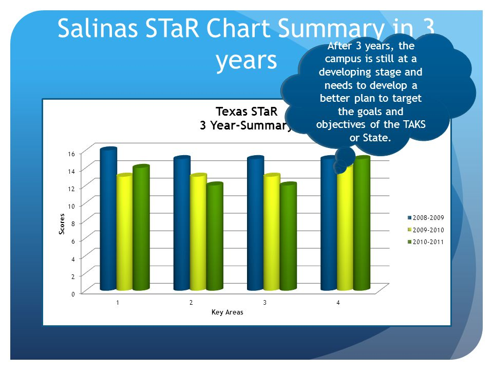 Salinas STaR Chart Summary in 3 years After 3 years, the campus is still at a developing stage and needs to develop a better plan to target the goals and objectives of the TAKS or State.