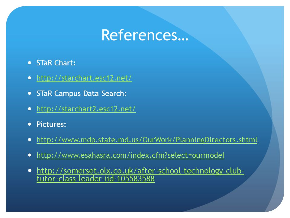 References… STaR Chart:   STaR Campus Data Search:   Pictures:     select=ourmodel   tutor-class-leader-iid tutor-class-leader-iid