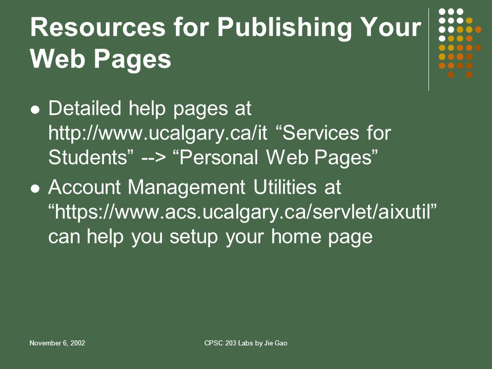 November 6, 2002CPSC 203 Labs by Jie Gao Resources for Publishing Your Web Pages Detailed help pages at   Services for Students --> Personal Web Pages Account Management Utilities at   can help you setup your home page