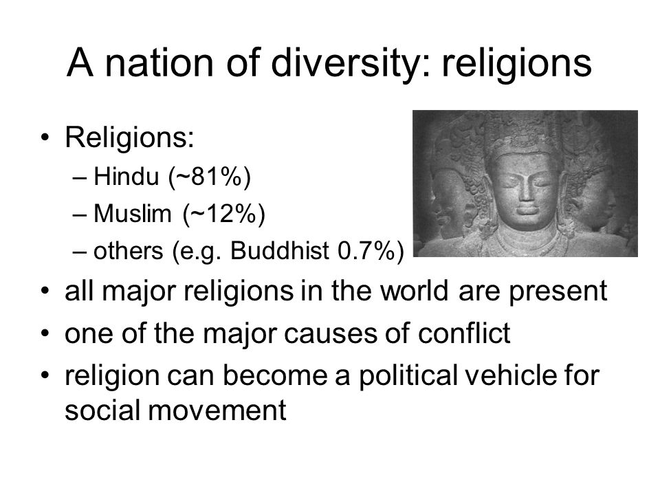 A nation of diversity: religions Religions: –Hindu (~81%) –Muslim (~12%) –others (e.g.