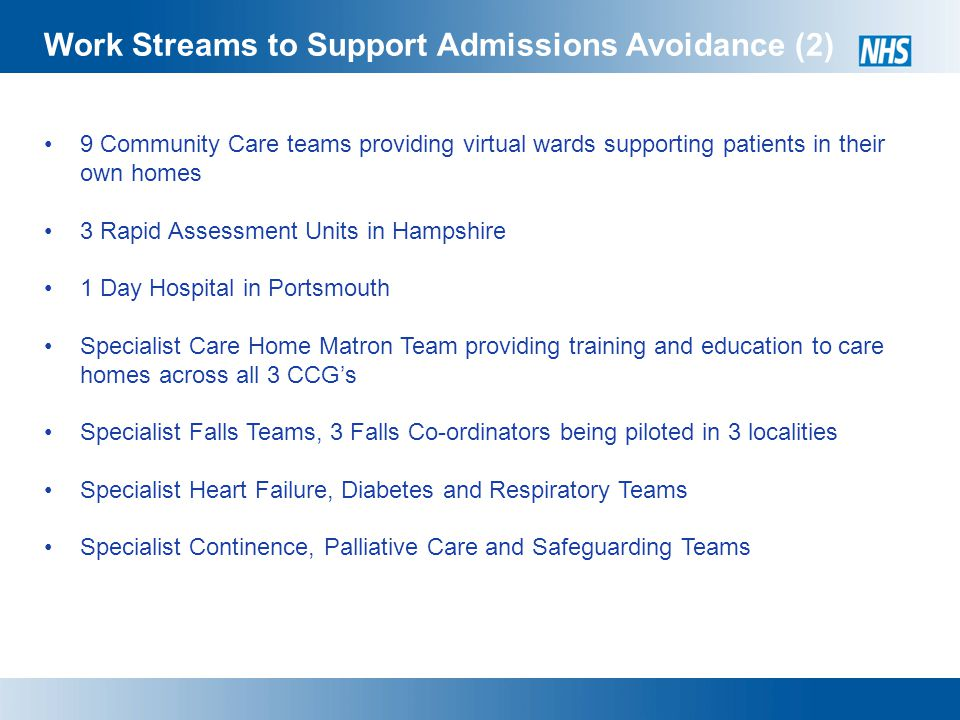 Work Streams to Support Admissions Avoidance (2) 9 Community Care teams providing virtual wards supporting patients in their own homes 3 Rapid Assessment Units in Hampshire 1 Day Hospital in Portsmouth Specialist Care Home Matron Team providing training and education to care homes across all 3 CCG's Specialist Falls Teams, 3 Falls Co-ordinators being piloted in 3 localities Specialist Heart Failure, Diabetes and Respiratory Teams Specialist Continence, Palliative Care and Safeguarding Teams