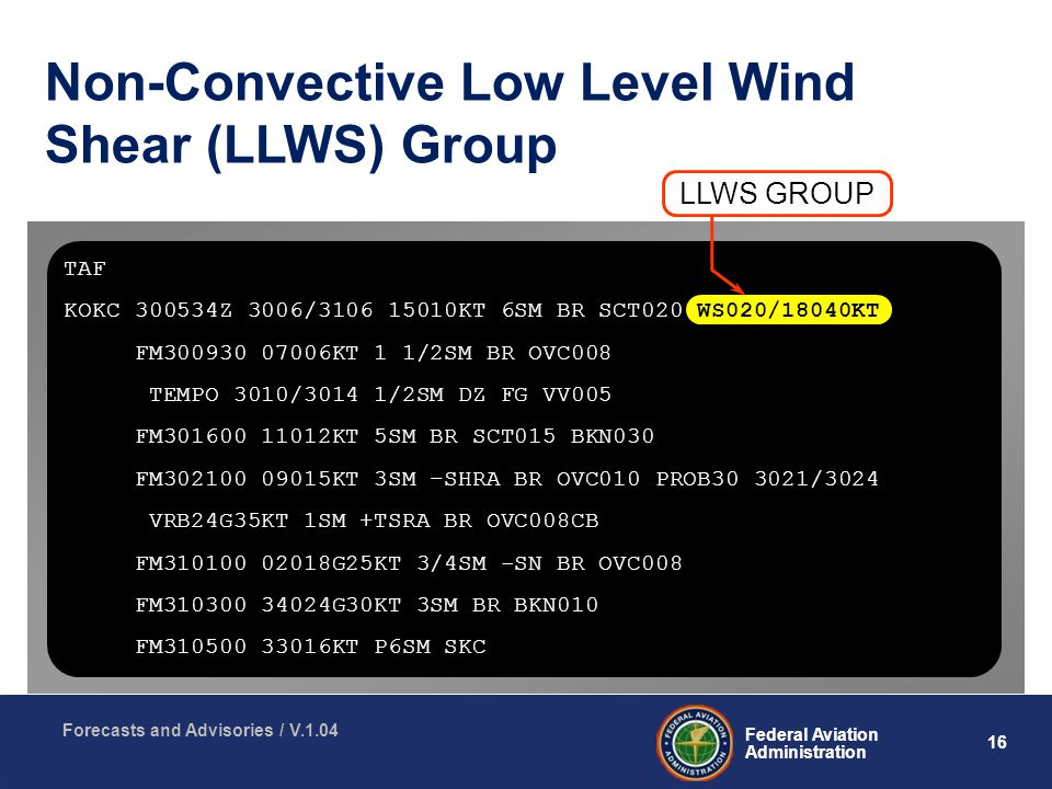16 Federal Aviation Administration Forecasts and Advisories / V.1.04 Non-Convective Low Level Wind Shear (LLWS) Group LLWS GROUP TAF KOKC Z 3006/ KT 6SM BR SCT020 WS020/18040KT FM KT 1 1/2SM BR OVC008 TEMPO 3010/3014 1/2SM DZ FG VV005 FM KT 5SM BR SCT015 BKN030 FM KT 3SM –SHRA BR OVC010 PROB /3024 VRB24G35KT 1SM +TSRA BR OVC008CB FM G25KT 3/4SM -SN BR OVC008 FM G30KT 3SM BR BKN010 FM KT P6SM SKC