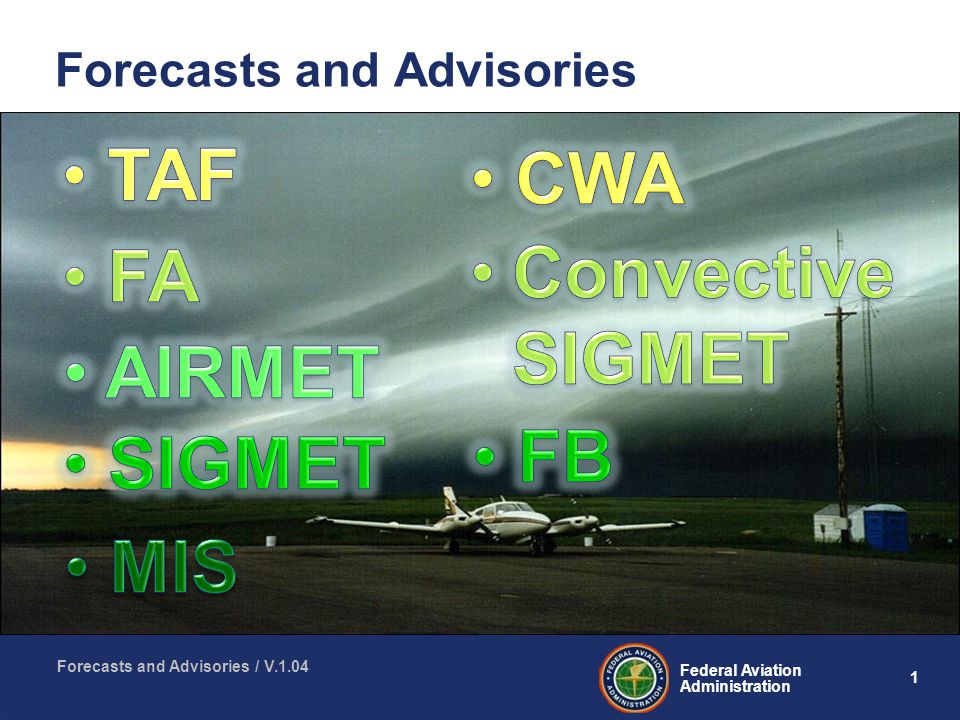1 Federal Aviation Administration Forecasts and Advisories / V.1.04 Forecasts and Advisories