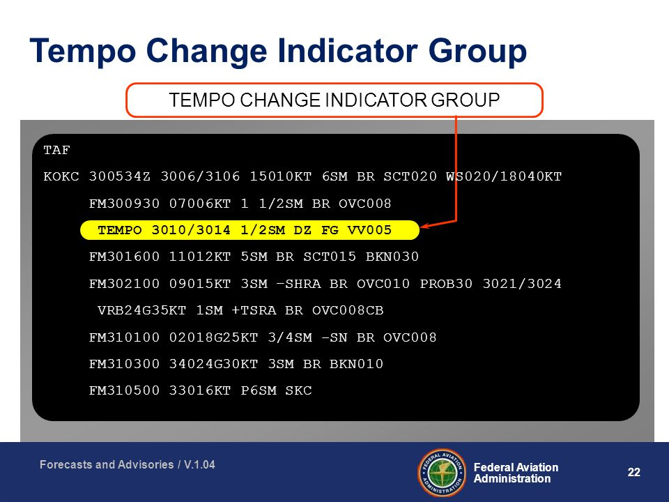 22 Federal Aviation Administration Forecasts and Advisories / V.1.04 Tempo Change Indicator Group TEMPO CHANGE INDICATOR GROUP TAF KOKC Z 3006/ KT 6SM BR SCT020 WS020/18040KT FM KT 1 1/2SM BR OVC008 TEMPO 3010/3014 1/2SM DZ FG VV005 FM KT 5SM BR SCT015 BKN030 FM KT 3SM –SHRA BR OVC010 PROB /3024 VRB24G35KT 1SM +TSRA BR OVC008CB FM G25KT 3/4SM -SN BR OVC008 FM G30KT 3SM BR BKN010 FM KT P6SM SKC
