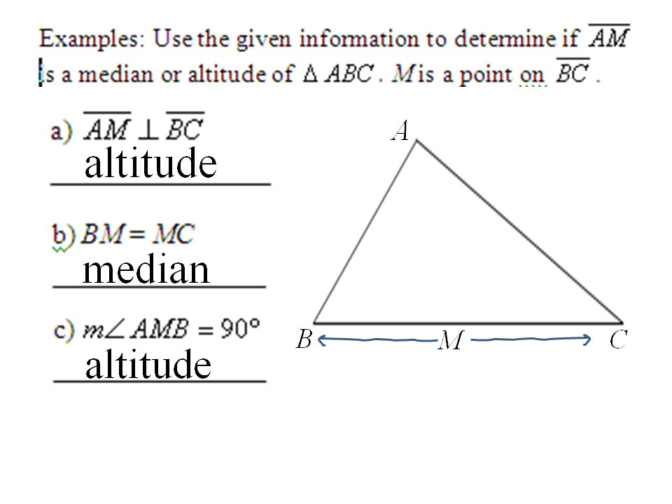 Honors Geometry Section 4.6 Special Segments in Triangles ...