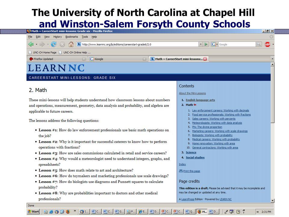 The University of North Carolina at Chapel Hill and Winston-Salem