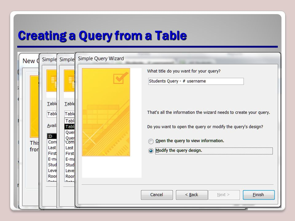 Creating a Query from a Table