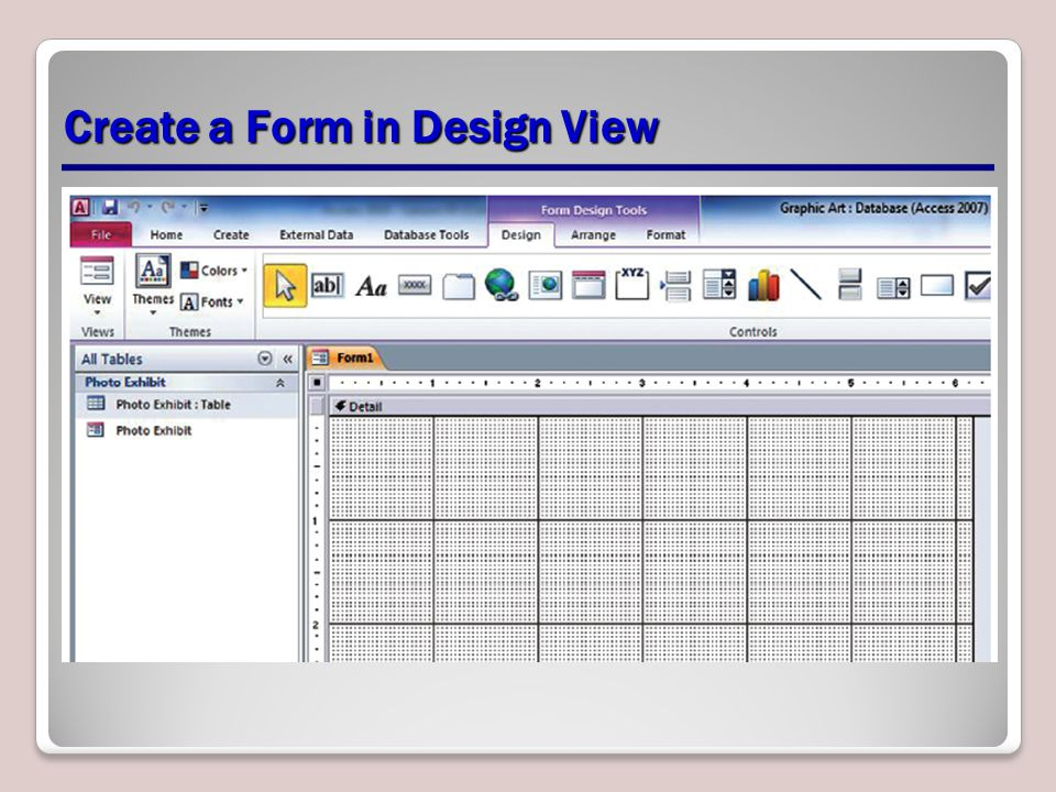 Create a Form in Design View