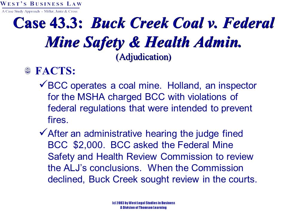 Case 43.3: Buck Creek Coal v. Federal Mine Safety & Health Admin.