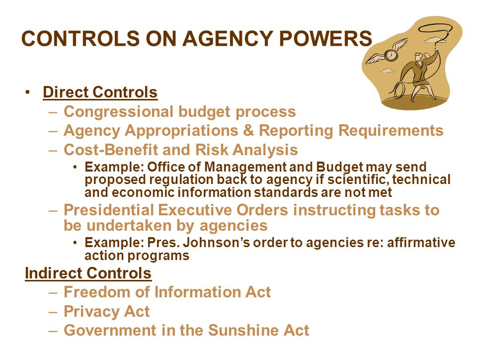 CONTROLS ON AGENCY POWERS Direct Controls –Congressional budget process –Agency Appropriations & Reporting Requirements –Cost-Benefit and Risk Analysis Example: Office of Management and Budget may send proposed regulation back to agency if scientific, technical and economic information standards are not met –Presidential Executive Orders instructing tasks to be undertaken by agencies Example: Pres.