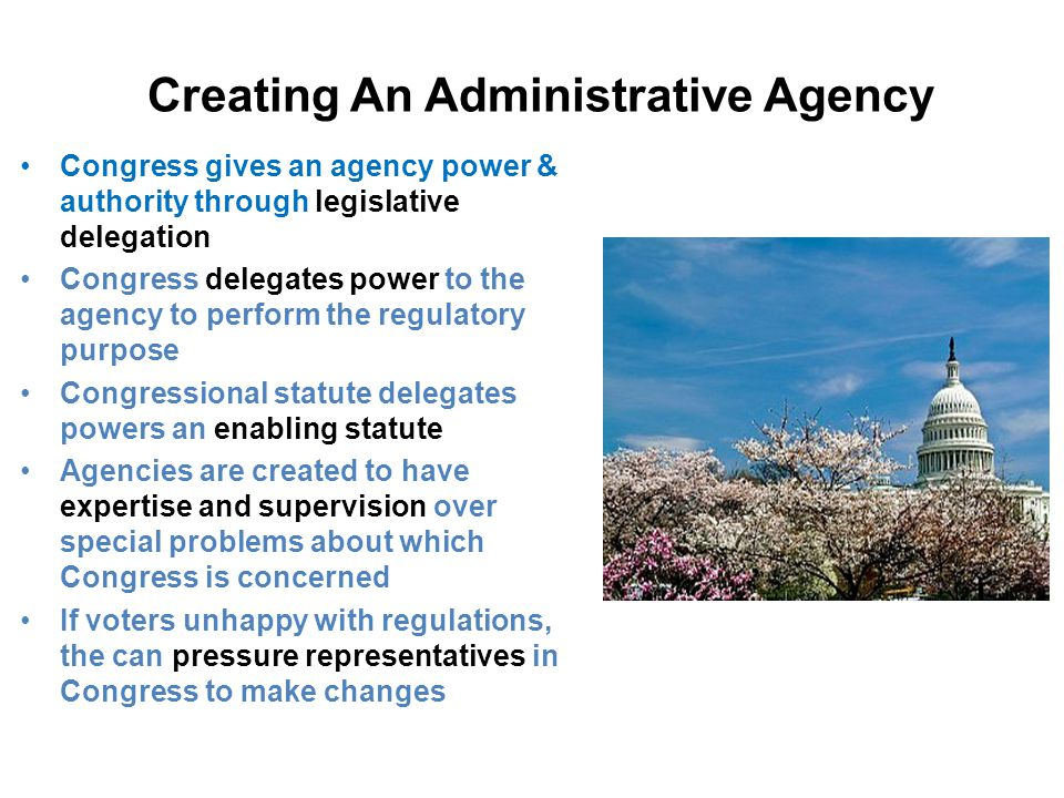 Creating An Administrative Agency Congress gives an agency power & authority through legislative delegation Congress delegates power to the agency to perform the regulatory purpose Congressional statute delegates powers an enabling statute Agencies are created to have expertise and supervision over special problems about which Congress is concerned If voters unhappy with regulations, the can pressure representatives in Congress to make changes