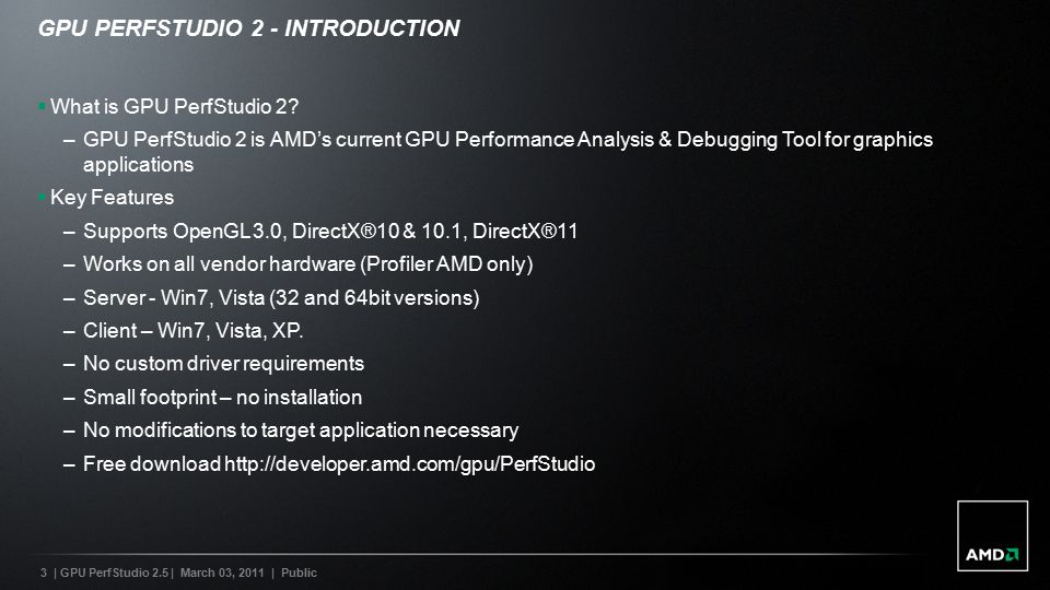 OPTIMIZING AND DEBUGGING GRAPHICS APPLICATIONS WITH AMD'S