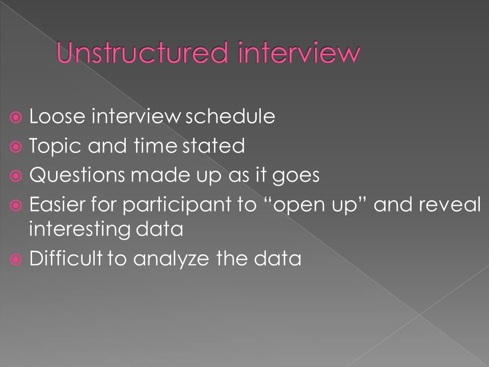  Loose interview schedule  Topic and time stated  Questions made up as it goes  Easier for participant to open up and reveal interesting data  Difficult to analyze the data