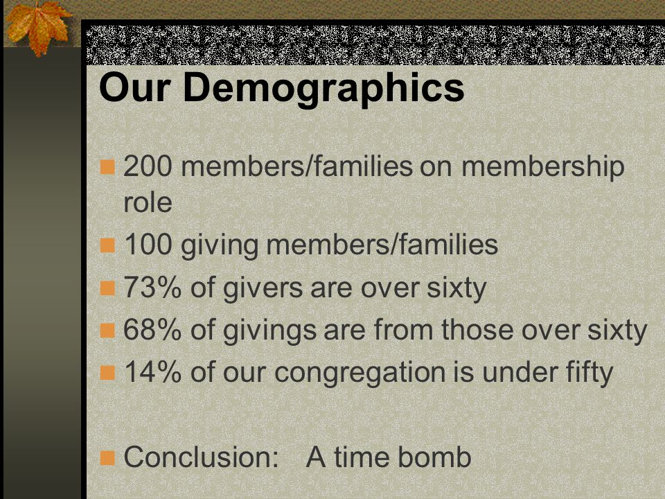 Our Demographics 200 members/families on membership role 100 giving members/families 73% of givers are over sixty 68% of givings are from those over sixty 14% of our congregation is under fifty Conclusion: A time bomb