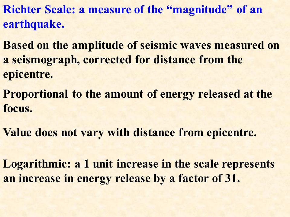 Richter Scale: a measure of the magnitude of an earthquake.