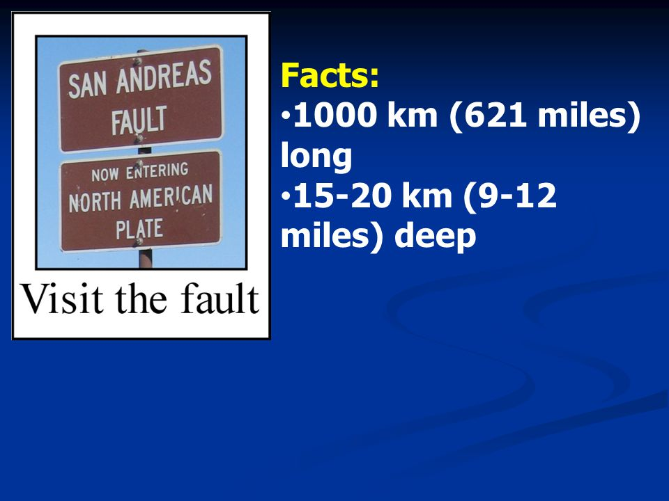 Facts: 1000 km (621 miles) long km (9-12 miles) deep