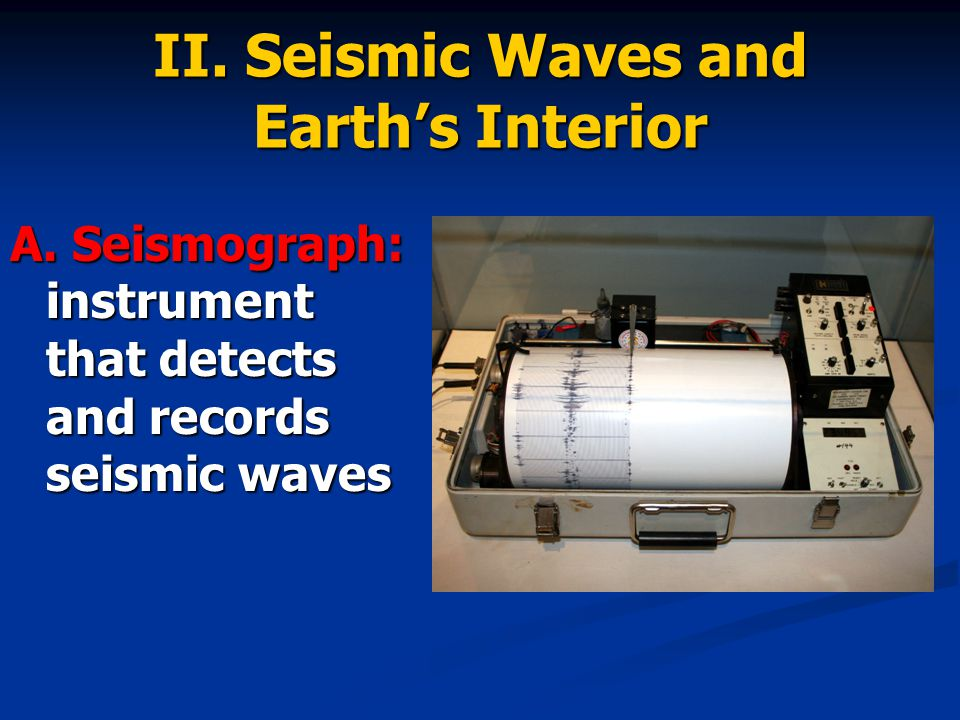 II. Seismic Waves and Earth's Interior A.