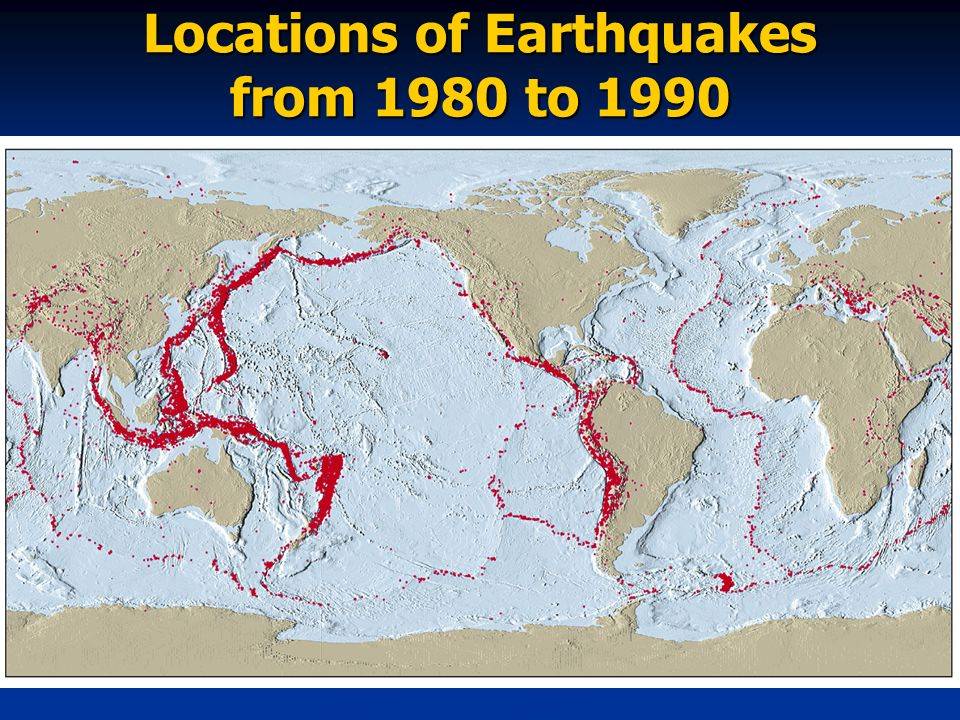 Locations of Earthquakes from 1980 to 1990
