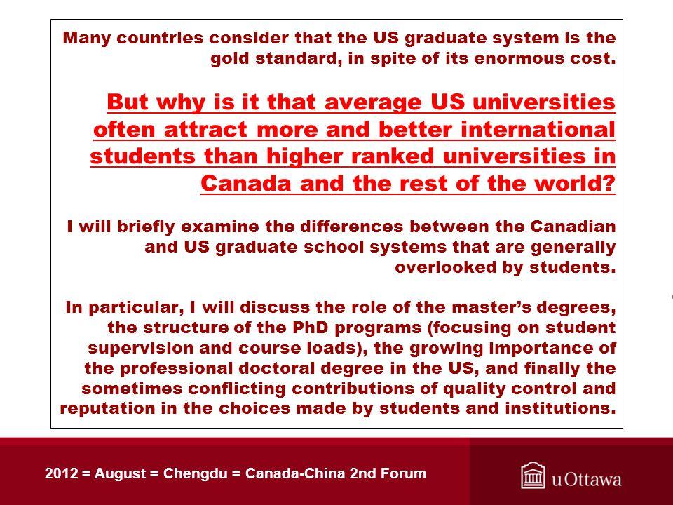 Canada-USA : graduate studies comparison Gary W  Slater Associate