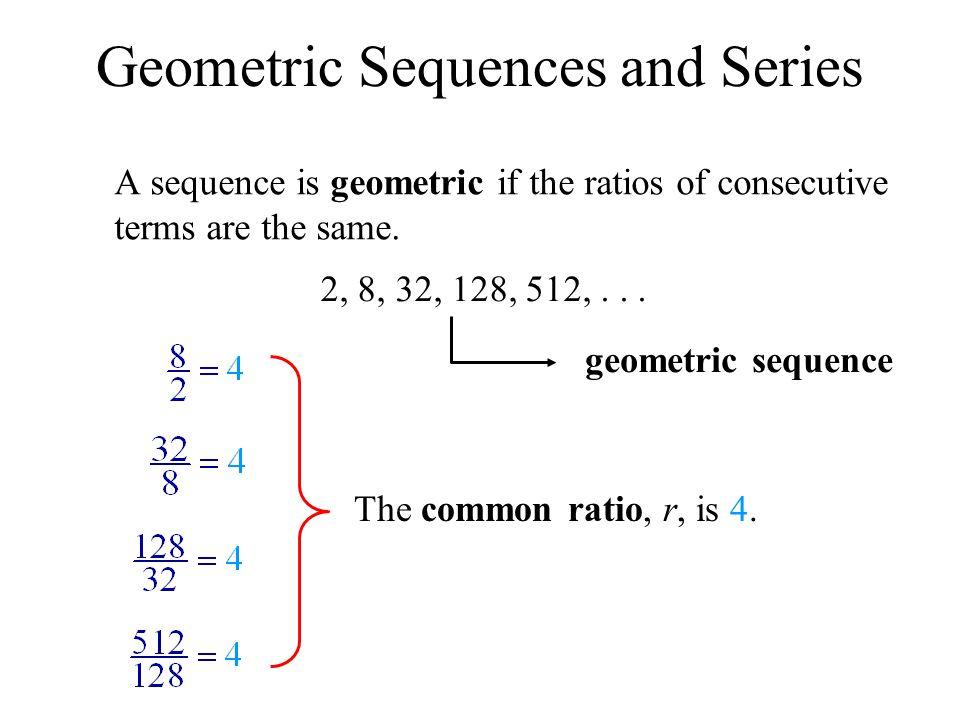 Geometric Sequences and Series A sequence is geometric if