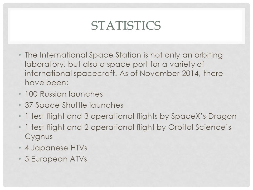 STATISTICS The International Space Station is not only an orbiting laboratory, but also a space port for a variety of international spacecraft.