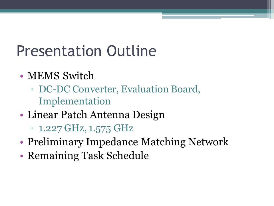 Frequency Reconfigurable Patch Antenna Design Review Presentation