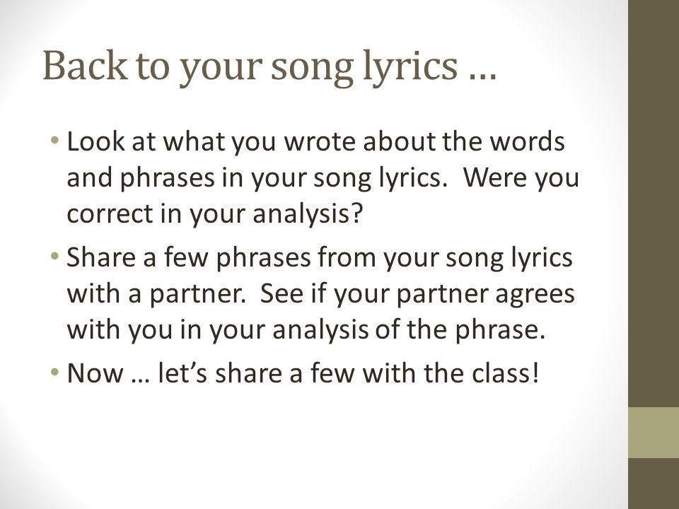 Denotative v  Connotative Language  Look at your song's