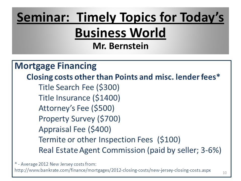 Mortgage Financing Closing costs other than Points and misc.
